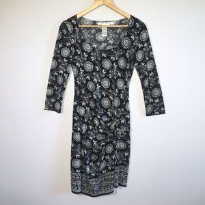 Bodycon Sunflower Pattern 90's Style Black Dress